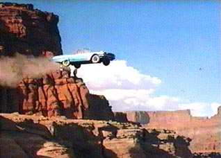Car flying off cliff